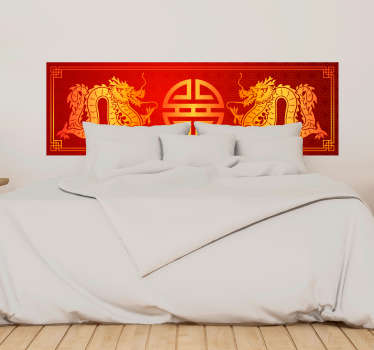 An oriental headboard wall sticker designed in an amazing Asian origin colorful style. A lovely home decoration made of high vinyl quality.