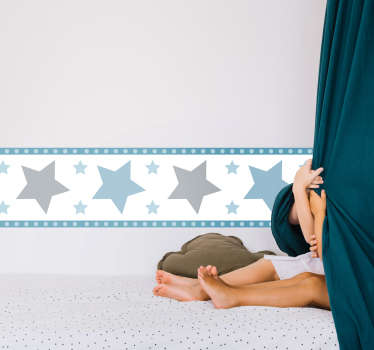 Decorative pastel stars border sticker for children bedroom space. Easy to apply, self adhesive and available in any required size.
