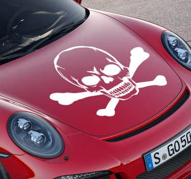 Naklejka na samochód czaszka kości halloween