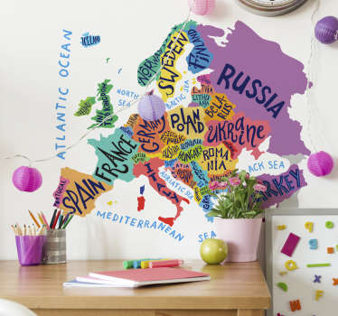 World map Europe sticker shows you the names of all the nations in Europe. Make a fast and secure online payment and wait for your order at home.
