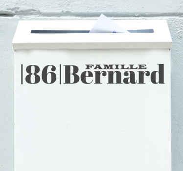 Ce sticker pour boîte aux lettres ravira votre famille ! Vous pouvez personnaliser le nom pour donner à votre entrée une décoration unique.