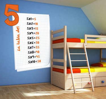 Decora la cameretta dei tuoi bimbi con questo pratico sticker e fa' che imparino già da piccoli le moltiplicazioni del 5.