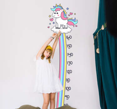 Unicorn and rainbow meter height chart sticker for children room decoration. It is made of high quality and adhesive vinyl material. Easy to apply.
