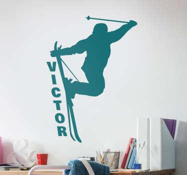 Sticker de sport pour montrez à tous que vous êtes le roi de la glisse, même hors-piste ! Vous pouvez personnaliser le nom.