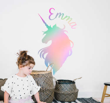 Fantasy colorful unicorn silhouette wall sticker for kids space decoration. It is customisable with any name of desired. Easy to apply and adhesive.