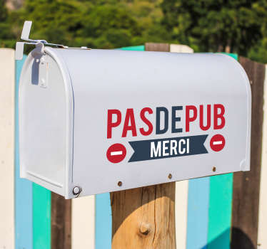 Sticker Entrée Boîte aux lettres Stop pub