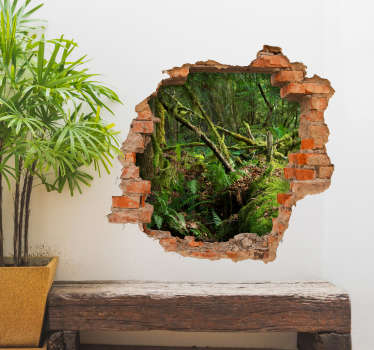 视觉效果丛林trompe l'oeil墙贴纸,用于家庭和办公室装饰。从砖墙开孔的森林景观设计。