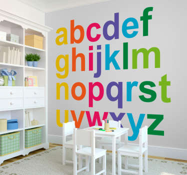Adhesive alphabet wall sticker for children. A multi coloured alphabet lettering for decorating learning space for kids.