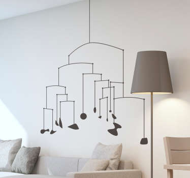 Decorative geometric line wall sticker created in a pattern that forma lamp. Easy to apply and available in different colours and size options.
