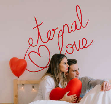 Original love wall sticker for home decoration. A design with love text and heart shape. It is available in different colours and size options.