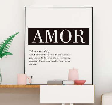 """Original pegatina adhesiva de estilo minimalista formada por la palabra """"Amor"""", su origen y su definición. Precios imbatibles."""