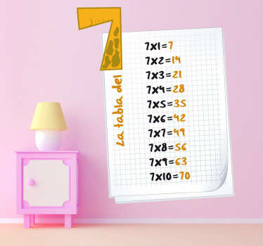 Adesivo bambini tabella delle moltiplicazioni 7