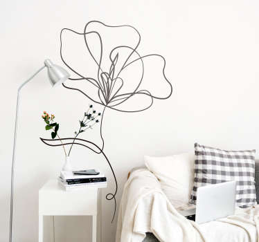 Vinilo pared dibujo minimalista de flores