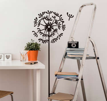 Decorative flower wall art decal with a dandelion ornamental design in a fan pattern. It is available in different colour options and sizes.