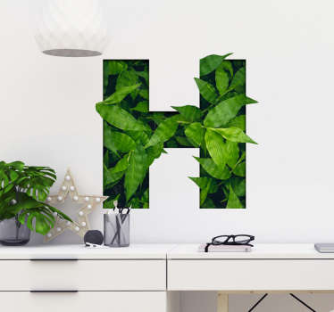 Customizable plant letter plant sticker. A design with any desired alphabet in flower pattern. You can buy it in any size to decorate the home.