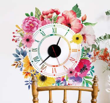 Sticker Horloge Fleurs Ornementales