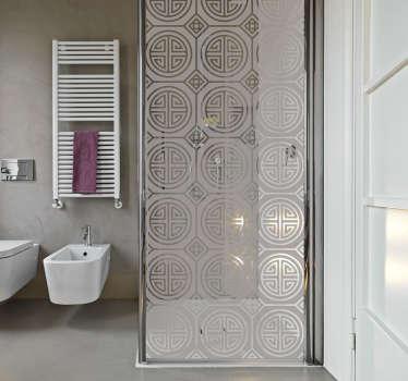 Autocollant pour salle de bain à motifs orientaux. Adhésif opaque pour porte de douche. Voyagez en allant à votre propre salle de bain !