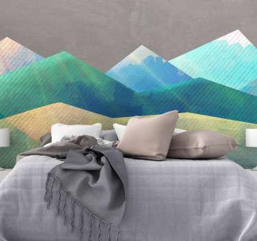 Original y colorido cabecero adhesivo formado por un diseño de montañas en tonos azules, verdes y amarillos. Precios imbatibles.