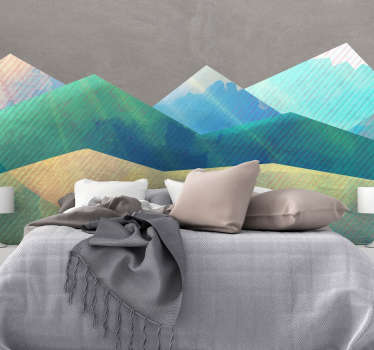 Vinilo pared patrón minimalista montañas