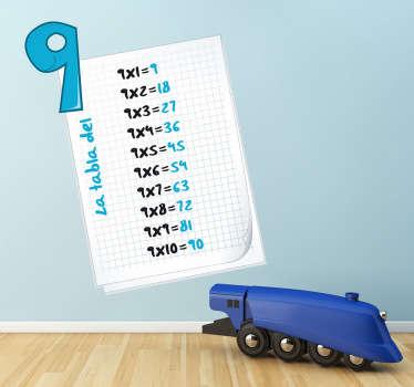 Adesivo bambini tabella delle moltiplicazioni 9