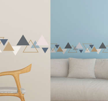 Decorative geometric triangles wall border for home decoration. It is easy to apply,  adhesive and available in any required size.