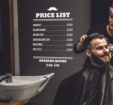Barbers Price List Shop Sticker