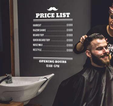Barbers Price List Shop Sticker