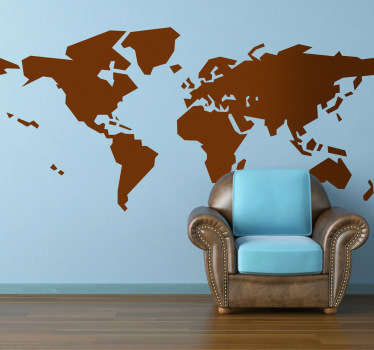 Creative world map wall sticker with an abstract effect. Original sticker to decorate your home and make it stand out! Classic world map wall design you know with a modern twist, basic shapes mean it improves the decor of any room it is placed in.