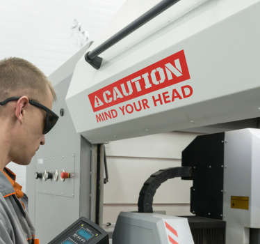 Caution Mind Head Vinyl Sign Sticker
