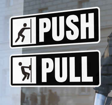 Push Pull Shop Door Sticker