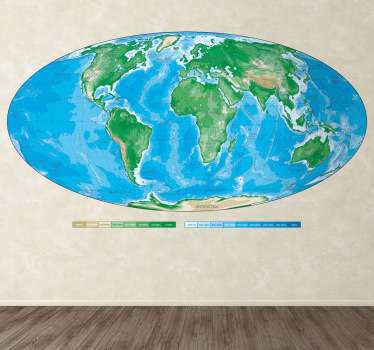 Creative oval world map sticker with every single continent. Decorate your home with this decal and show your kids how the earth really is.