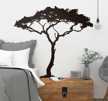 Decorative country theme tree wall decal. A silhouette tree design that is available in different colours and size option. Easy to apply and adhesive.