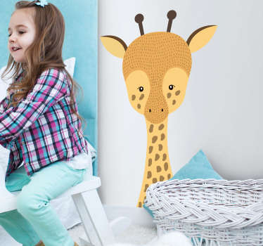 An original cartoon giraffe drawing wall sticker to decorate the bedroom space of children. Easy to apply and available i any requited size.