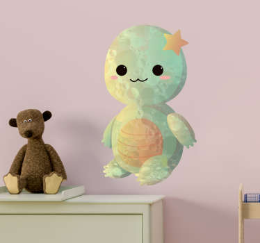Cartoon baby turtle drawing wall sticker to decorate the wall space children bedroom. It comes in customisable size and easy to apply.