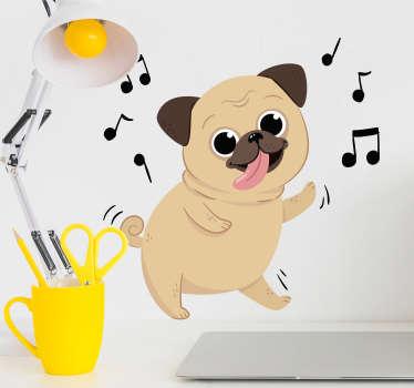 Een cartoon muursticker van een van een grappig dansend hondje? Super leuk als kinderkamer decoratie! Maak uw zoon of docther blij!