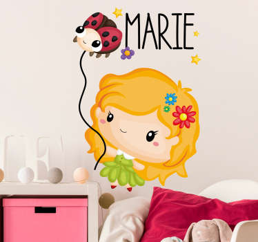 Decorative Ladybug child drawing illustration wall sticker for bedroom space. Available in different size options and easy to apply.