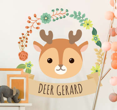 Decorative baby deer drawing wall decal for children bedroom space. Easy to apply, adhesive and available in any required size.