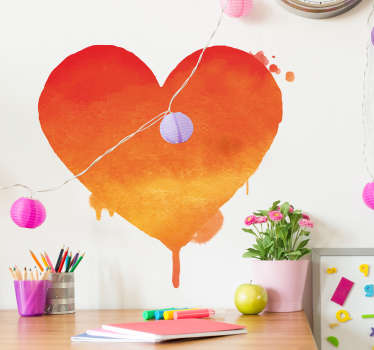 Valentijn stickers Oranje kunst hartje