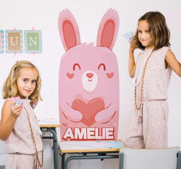 Dieren stickers schattige roze konijn met naam