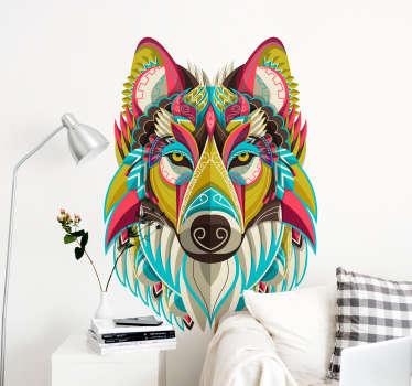 Muurstickers dieren kleurvolle wolf
