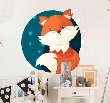 Sticker animal Pour enfants Décoration chambre Illustration renard sur fond de lune Taille et couleurs personnalisables Design original et adorable