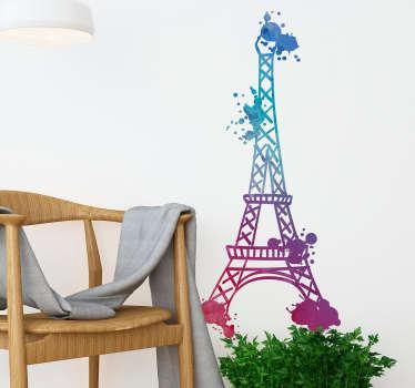 Vinilo pared Torre Eiffel acuarela