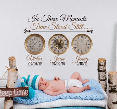 Mark the most special moments in your life with this fantastic customisable clock sticker, depicting the times at which loved ones were born!