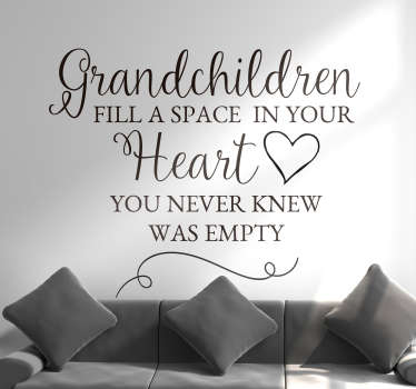 If you love your grandchildren, why not show it to all visitors to your home with this fantastic wall text sticker! Easy to apply.