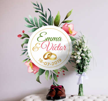 Decorative eucalyptus wedding sticker with text customization for a ceremony. Easy to apply and available in any required size.