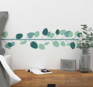 Vinilo pared Cenefa hojas de eucalipto