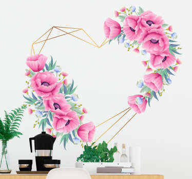 An original home wall decal with floral design in a heart shape pattern. Easy to apply, adhesive and available in any required size.