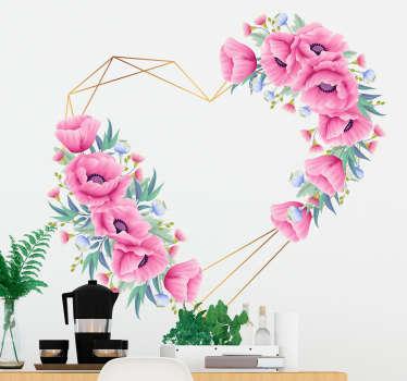 Sticker de amor corazón flores eucalipto