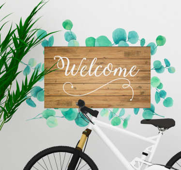 Decorative text wall sticker with a eucalyptus plant pattern design. Easy to apply and self adhesive. Available in any required size.