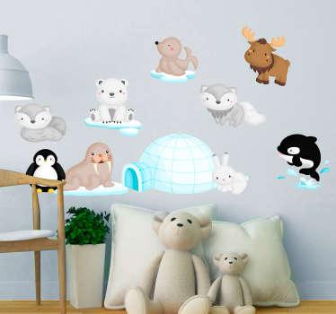 Vinilo infantil animales del ártico